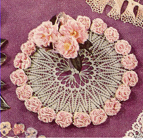 Vintage crochet pattern to make carnation design doily