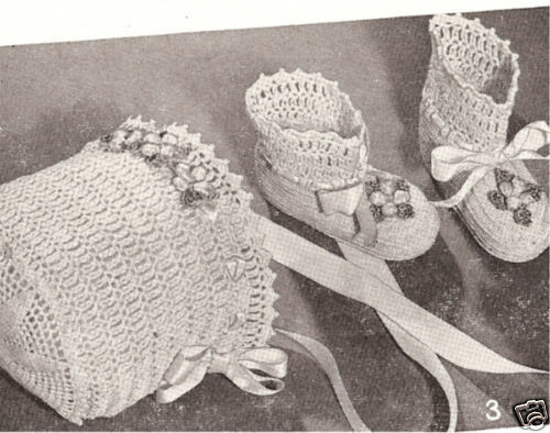 Free Crochet Baby High Tops Pattern : Vintage Crochet PATTERN to make Thread Baby High Top ...