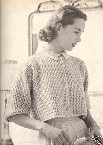 Crochet Jumper Patterns Uk : Vintage Crochet PATTERN to make Boxy Shorty Bed Jacket Sweater ...