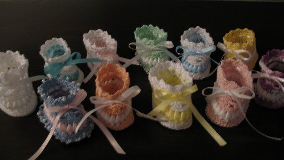 Vintage Crochet PATTERN to make Baby Booties Ribbon Thread ...