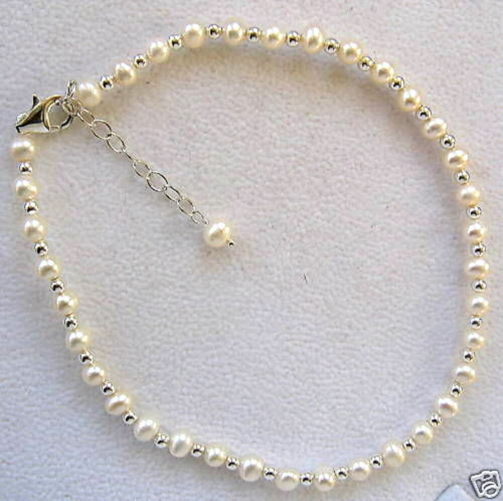 """White Cultured Pearl & Sterling Silver 10""""-12"""" Ankle ..."""