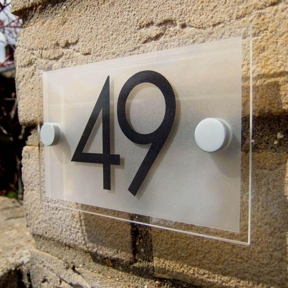 Acrylic house number door number sign plaque ebay for House number frames