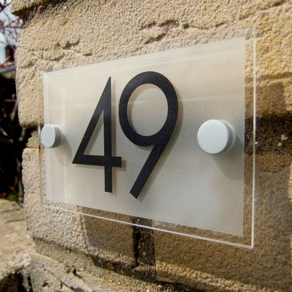 Modern house number plaque door number sign ebay for Modern house number plaques