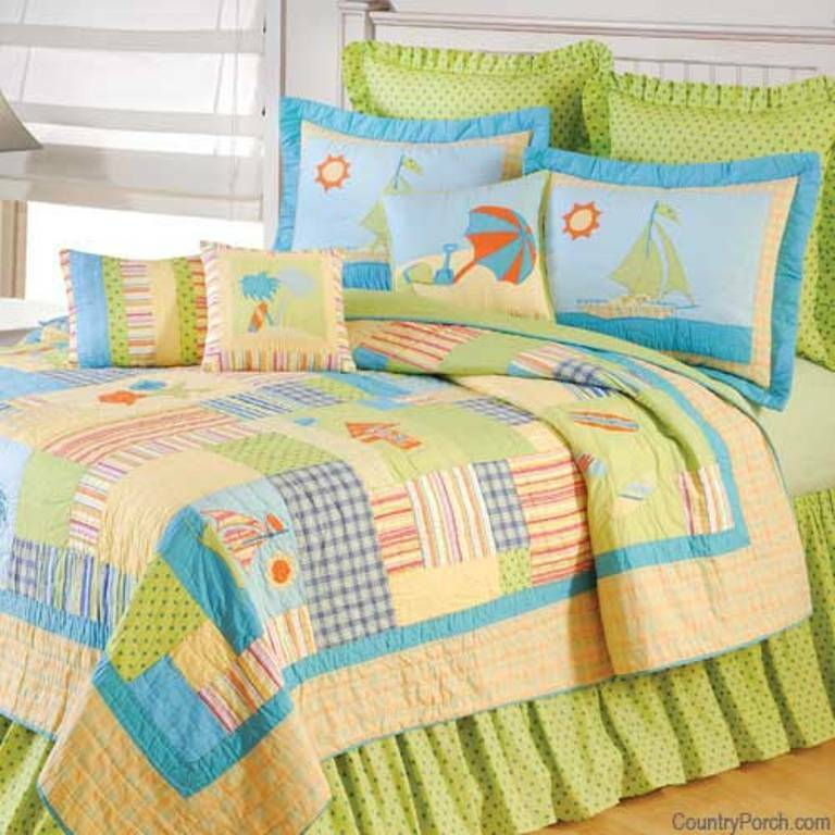 BEACH LIFE Full Queen QUILT SET : HAWAIIAN SHELLS TROPICAL ...