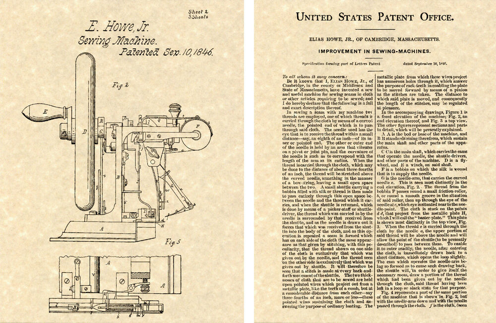 40st US PATENT For SEWING MACHINE Art Print READY TO FRAME 40849 Beauteous Patent For Sewing Machine