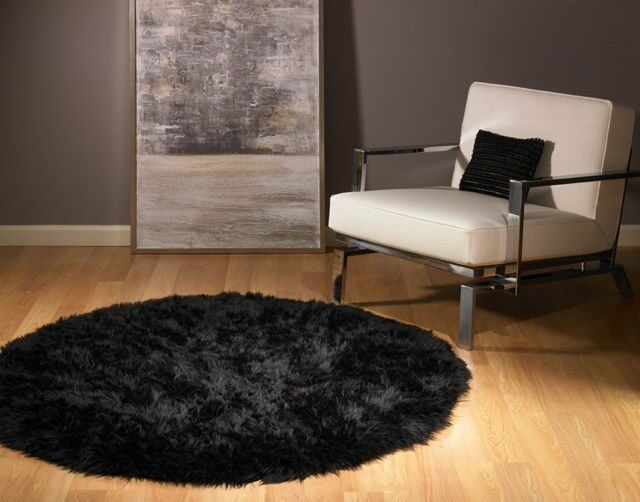 Round Black Faux Fur Bear Rug 5 New Ebay