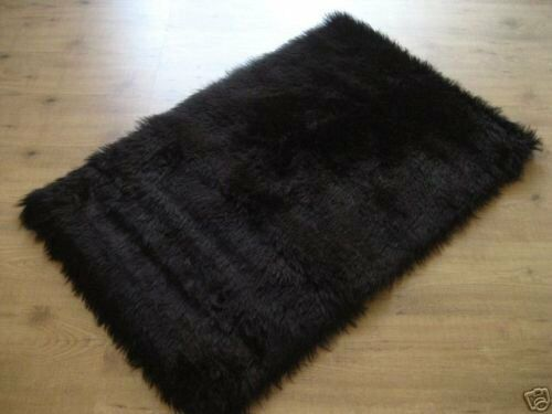 black faux fur rug black faux fur rug rectangle 2x4 new ebay 4669