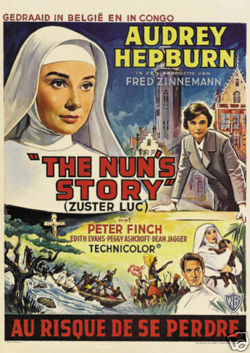the nun 39 s story audrey hepburn movie poster print ebay. Black Bedroom Furniture Sets. Home Design Ideas