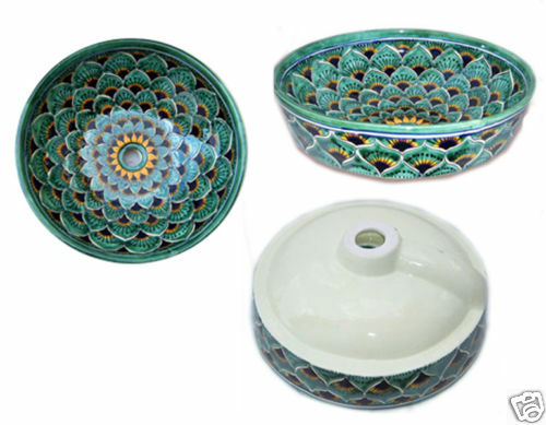 P 04 Mexican Bathroom Sink Wash Basin 16 Ceramic Ebay