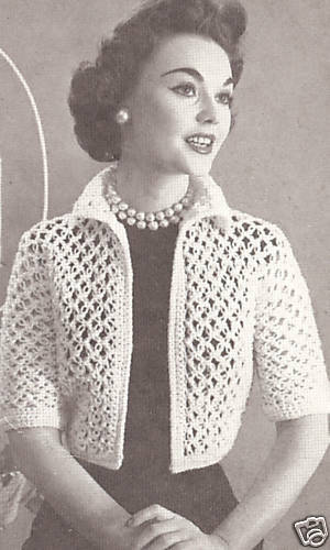 Free Crochet Pattern Bolero Jacket : Vintage Crochet PATTERN to make Knot Stitch Lace Bolero ...