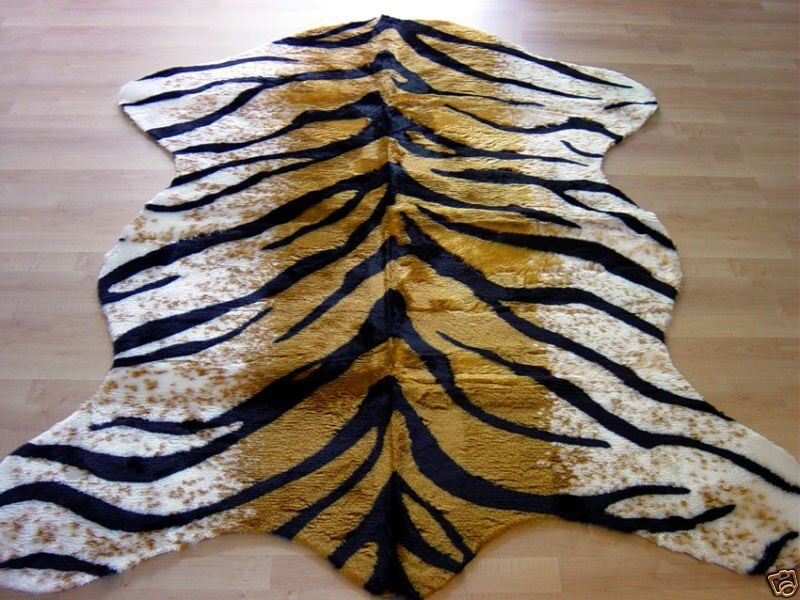 Tiger Rug Faux Fur Animal Skin Pelt Hide Rug 5x7 New Ebay