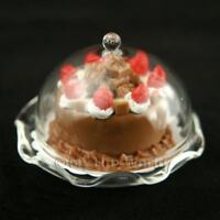 Glass Cake Stand (B) & Choc Cake Dolls House Miniatures