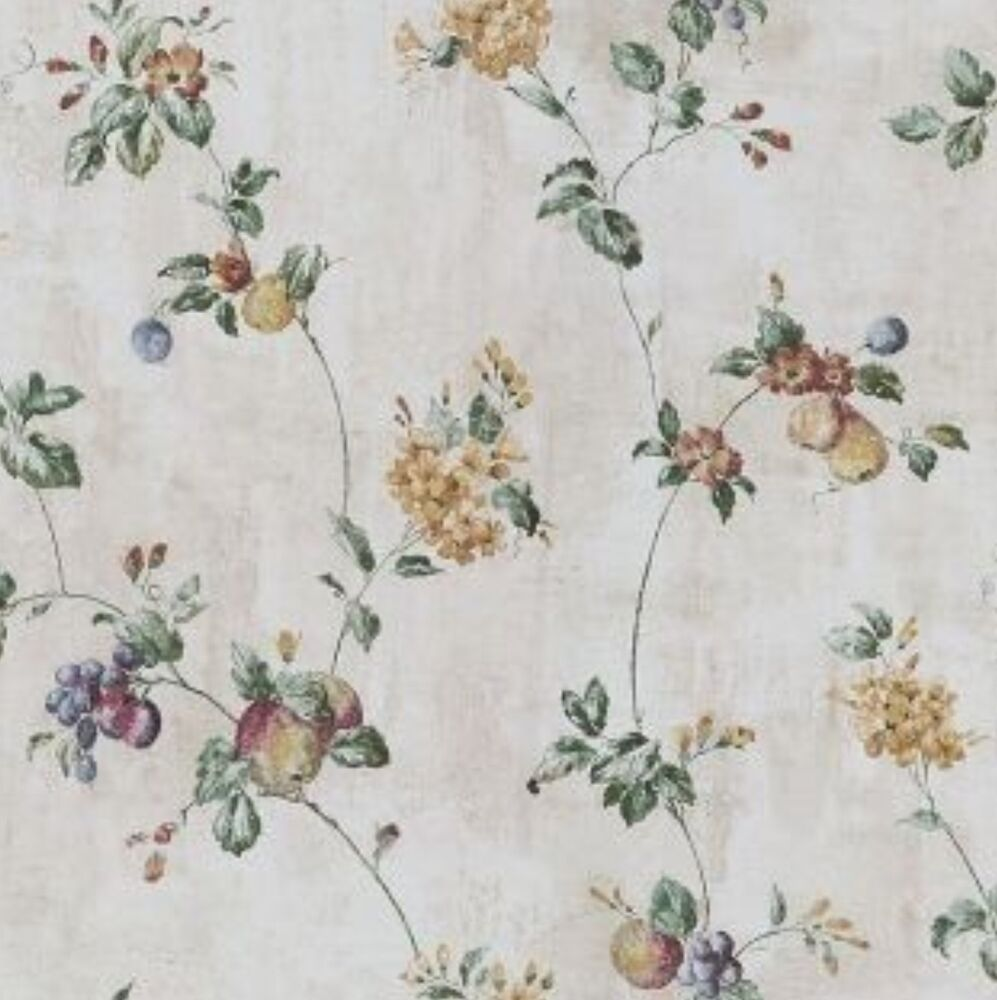 Wallpaper waverly floral fruit trail vine crackle faux ebay for Waverly wallpaper