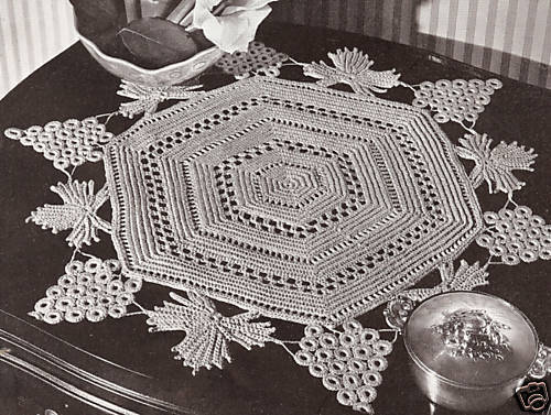 Free Vintage Irish Crochet Patterns : Vintage Crochet PATTERN to make Irish Grape Leaves Doily ...