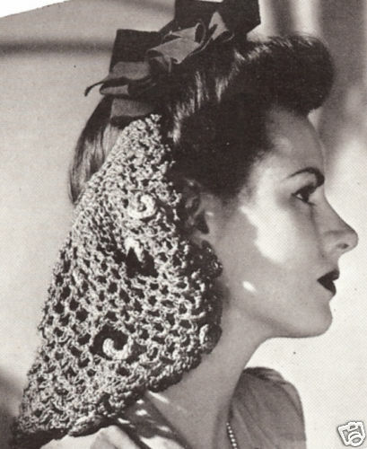 Vintage Crochet Pattern To Make Snood Hair Net Long Tied Design Bow