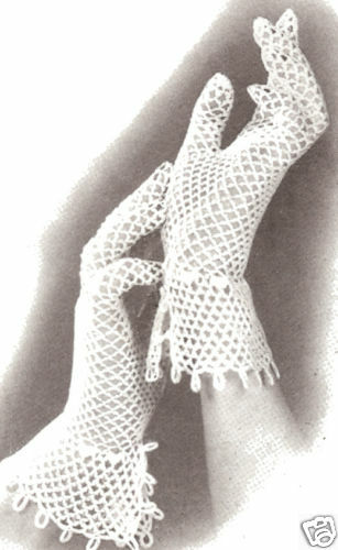 Free Crochet Patterns Lace Gloves : Vintage Crochet PATTERN to make Fishnet Lace Mesh Gloves ...