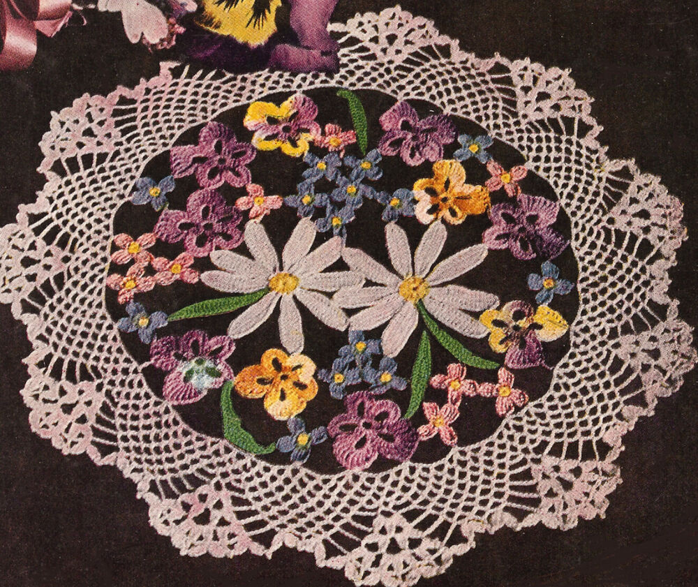 Vintage crochet pattern to make flower bouquet pansy doily