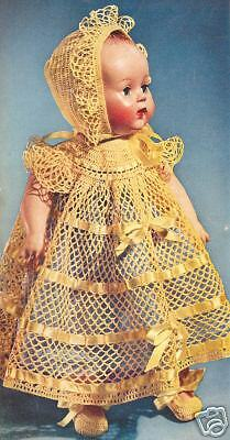 Vintage Crochet Pattern To Make Baby Doll Dress Hat Shoes