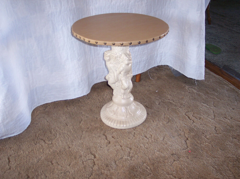 Cherub Plant Stand End Table With Tan Vinyl Top Ps25 Ebay