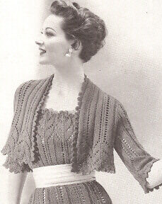Vintage Knitting PATTERN to make Lace Dress Sheath Bolero Shortie Jacket Lace...