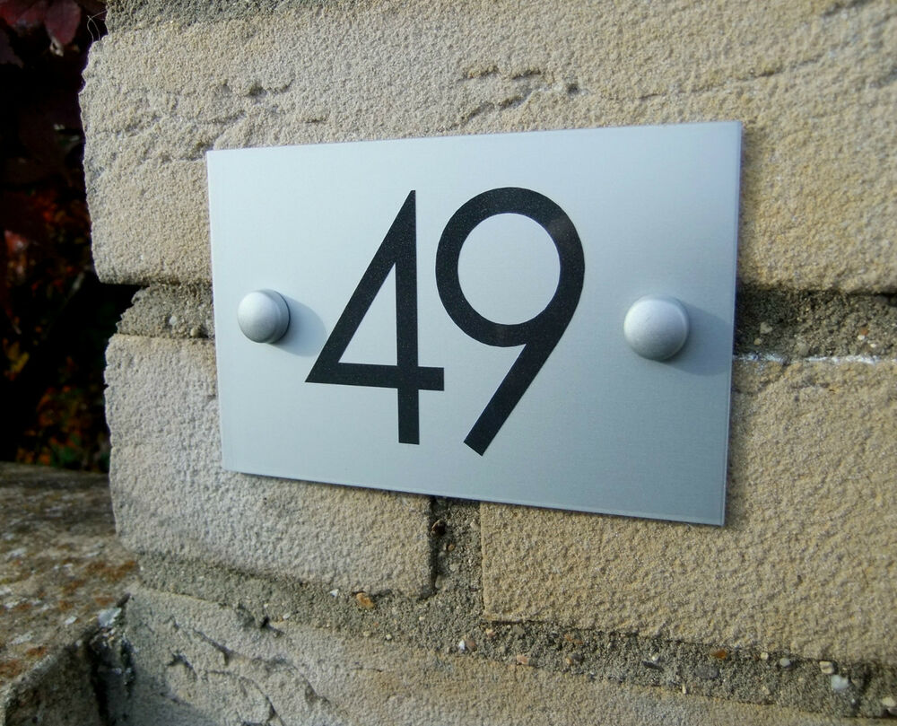 aluminium plaque house number door sign ebay. Black Bedroom Furniture Sets. Home Design Ideas