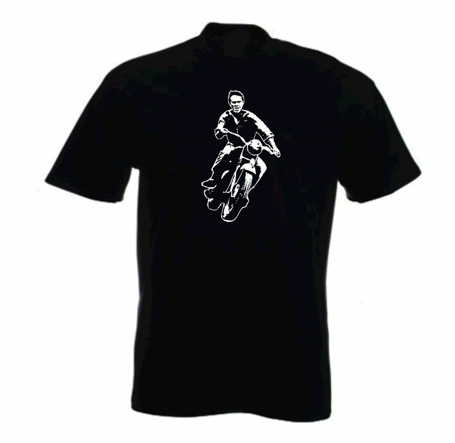 steve mcqueen great escape retro movie t shirt ebay. Black Bedroom Furniture Sets. Home Design Ideas