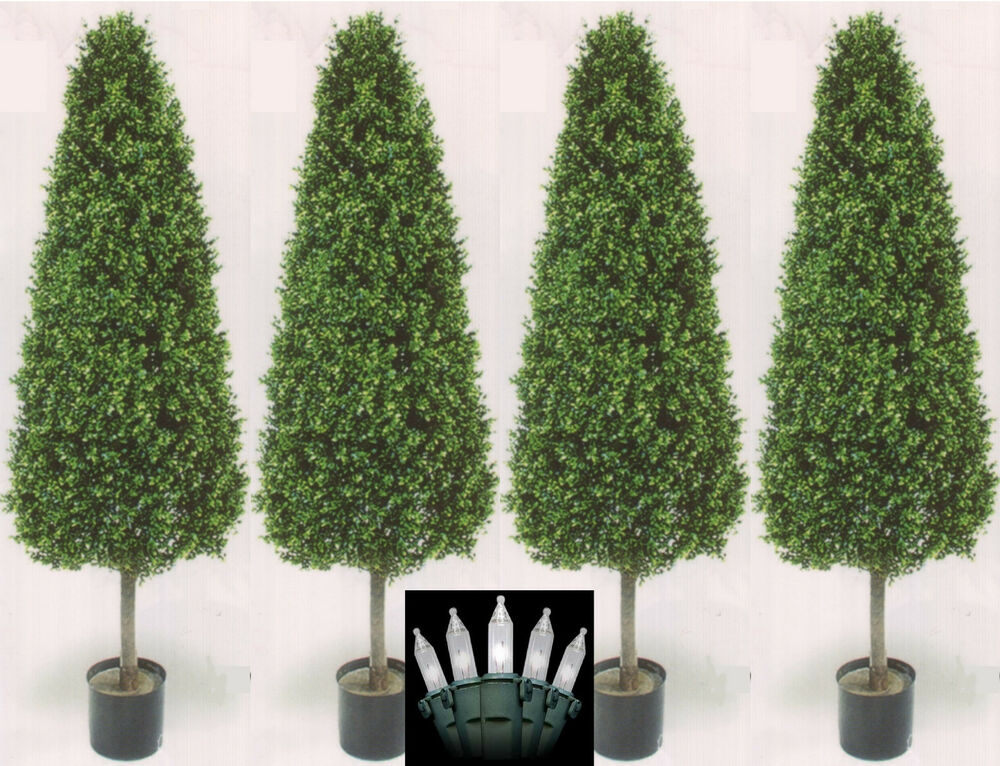 Four 56 Inch Outdoor Artificial Boxwood Cone Topiary Trees UV Rated With Ligh