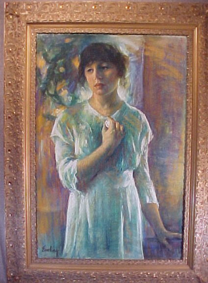 evelyn embry original art pastel painting brunette girl