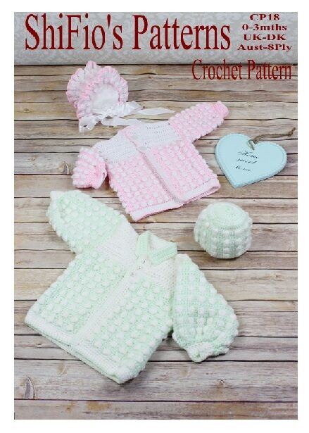 CROCHET PATTERN for BABY BOY GIRL BOBBLE HAT & JACKET #18 ...
