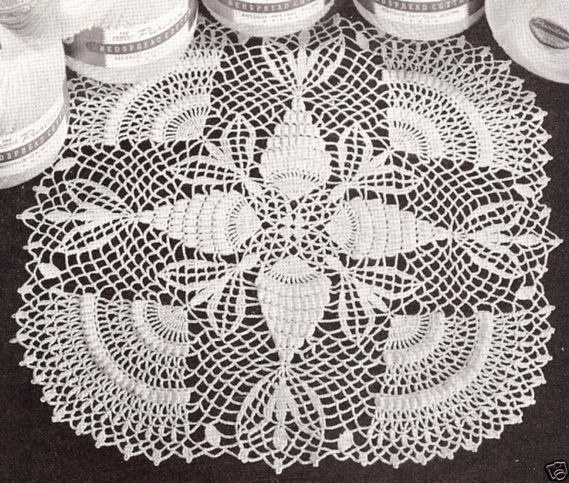 Crochet Patterns Vintage Doilies : Vintage Crochet Doily Thread PATTERN Pineapple Popcorn eBay