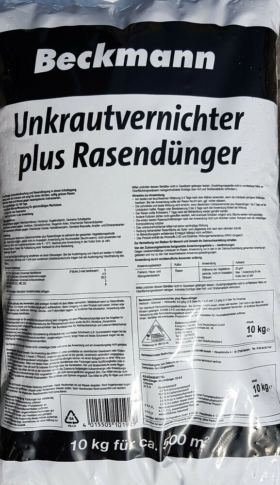 beckmann uv 15 kg rasend nger mit unkrautvernichter premium npk ebay. Black Bedroom Furniture Sets. Home Design Ideas