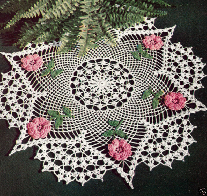 Crochet Flower Centerpiece : Vintage crochet pattern to make irish rose flower doily
