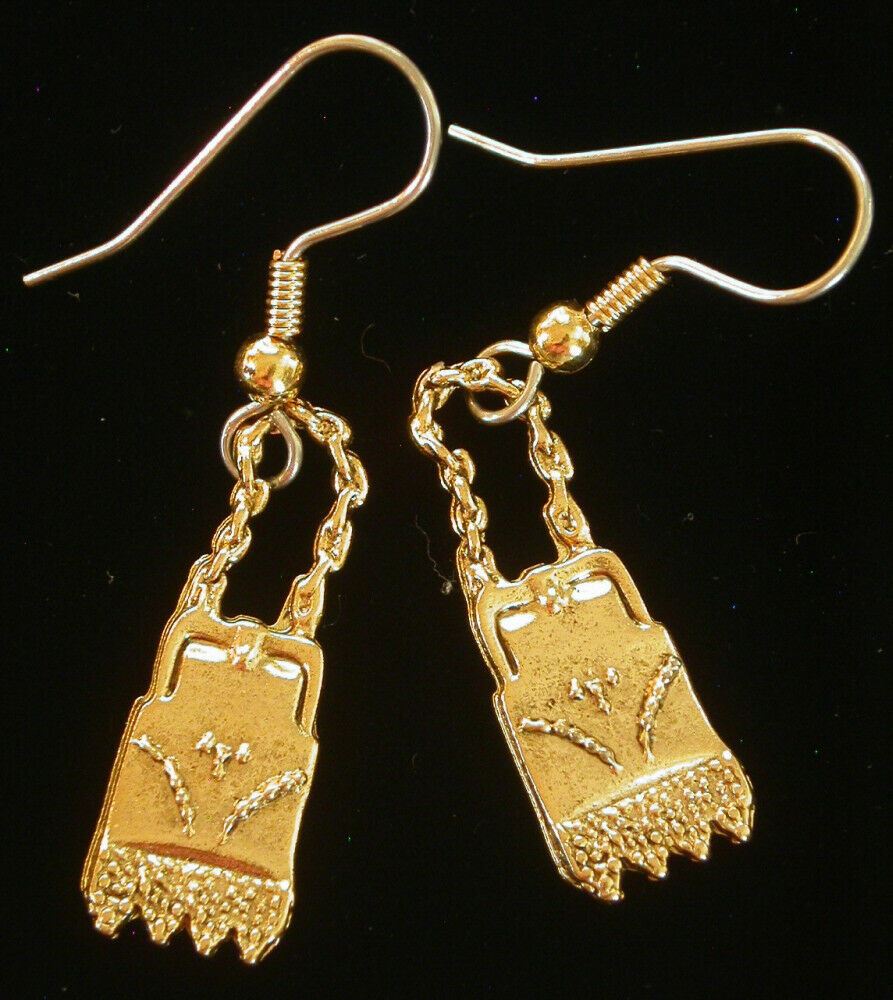 Vintage Victorian Style Purse Earrings 24 Kt Gold Plate