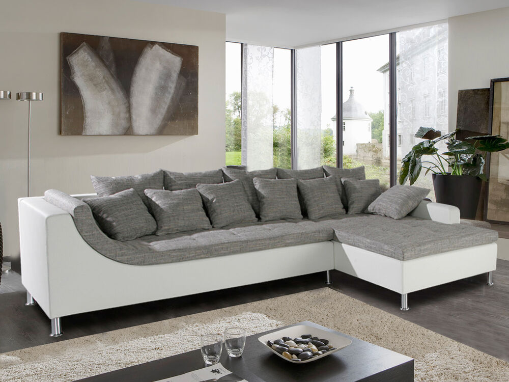wohnlandschaft montego ecksofa sofa mit ottomane wei grau mit kissen ebay. Black Bedroom Furniture Sets. Home Design Ideas