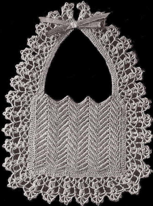 Vintage Crochet Baby Bib Patterns : Vintage Crochet PATTERN to make Fancy Old Fashioned Baby ...