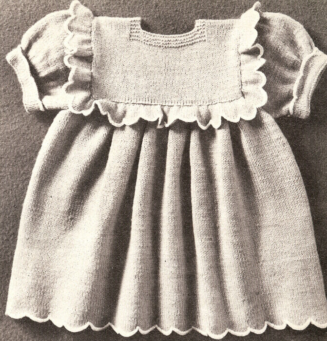 Vintage Knitting PATTERN to make Baby Toddler Dress Ruffle Yoke GrandmasGirl ...