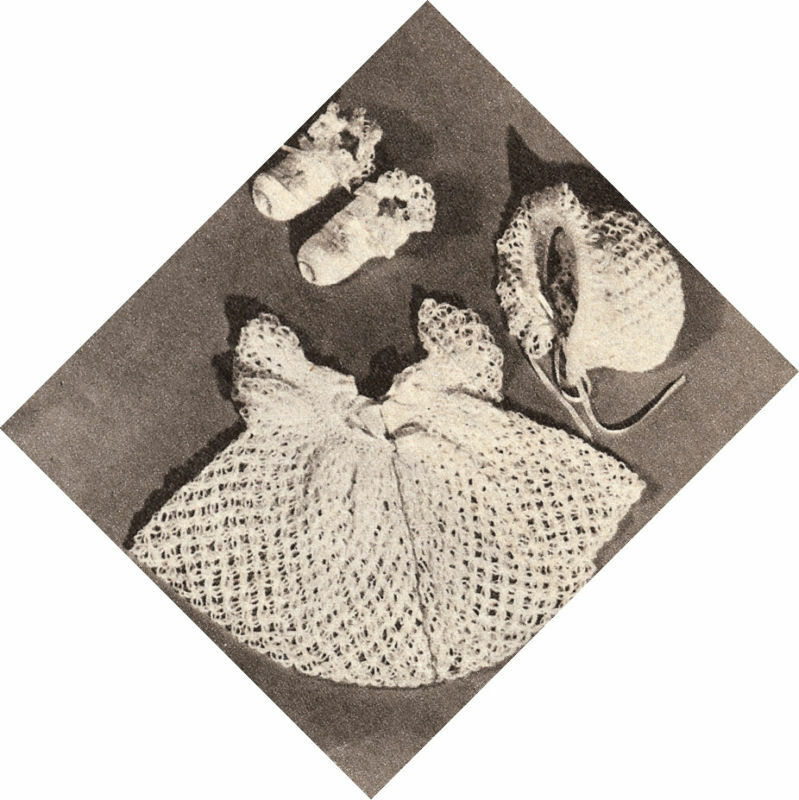 Crochet Baby Dress And Bonnet Pattern : Vintage Crochet PATTERN to make Baby Set Sacque Dress ...