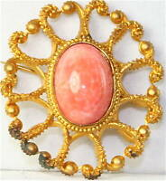 VICTORIAN ANTIQUE GOLD FILLED CORAL  GLASS PIN