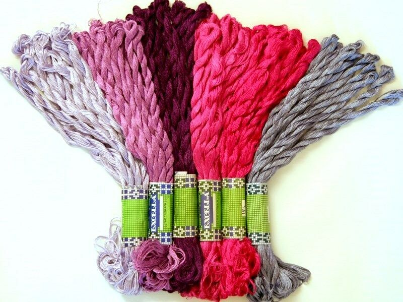NEW 60 SILKY HAND EMBROIDERY THREAD PURPLE SHADES FLOSS  EBay
