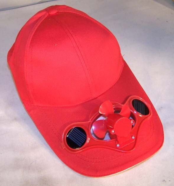 Red Solar Power Fan Baseball Cap Cool Air Powered Hat Ebay
