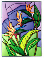 BIRD of PARADISE Glass TROPICAL Suncatcher 14x10 Hand Painted Window MADE in USA