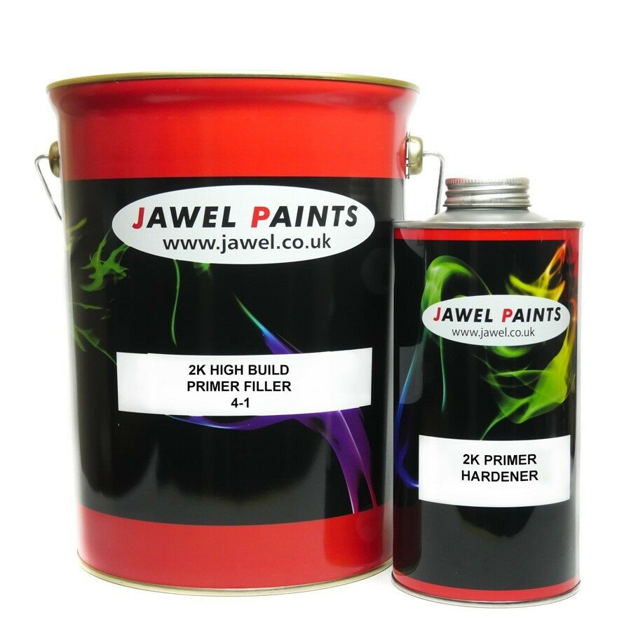 2k primer car paint jawel high build white 4lt primer 1lt hardener 5lt kit ebay - High build exterior paint set ...