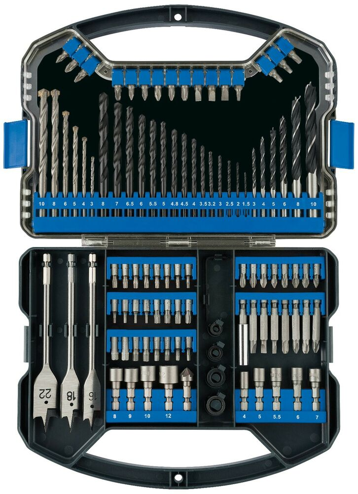 faithfull 51 piece masonry wood metal drill 1 4 screwdriver bit set case ebay. Black Bedroom Furniture Sets. Home Design Ideas
