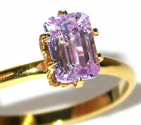 Emerald-Cut CZ SOLITAIRE RING LAVENDER ICE Cubic Zirconia 14K Gold Plated