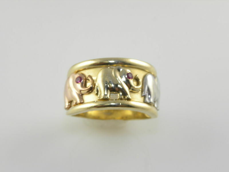 LADIES ESTATE ELEPHANT CIGAR BAND RING WITH RUBIES