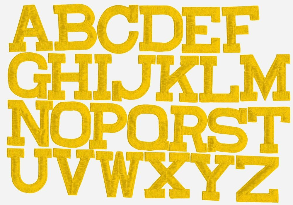 Iron on embroidered alphabet letters yellow your choice 2 for Embroidered alphabet letters