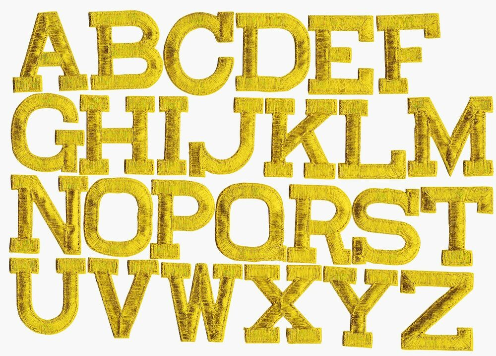 Iron on embroidered alphabet letters gold your choice 2 for Embroidered alphabet letters