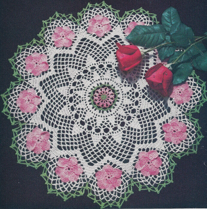 Vintage Crochet PATTERN to make Rose Petal Flower Doily ...