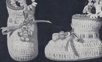 Vintage Crochet PATTERN Baby Booties Soft Shoes Charm