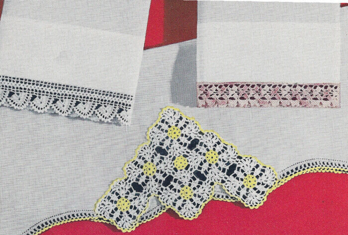 Vintage Crochet PATTERN Pillowcase Edging Motif Flowers eBay